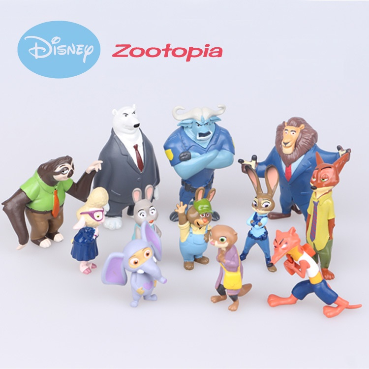 Disney Zootopia 12pcs/set toys Action Figure Doll Toy PVC Zootopia Figure Toys model Rabbit Judy Cop Fox Nick Cartoon Brinquedos image
