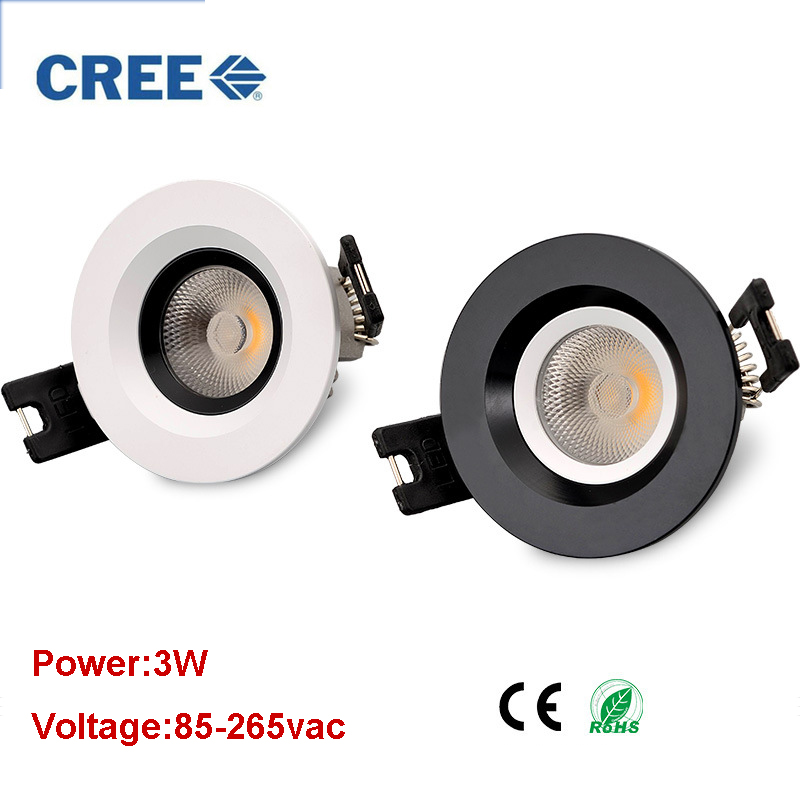 Recessed 24degree LED Downlight 3w COB LED Spot light LED decoration Ceiling Lamp AC110V 220V downlights