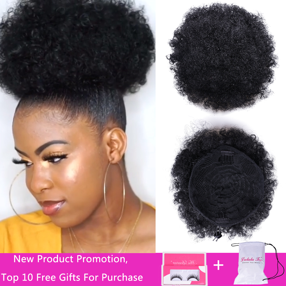 Chignon Hairpiece Short Updo-Clip Synthetic-Hair-Bun Drawstring Ponytail Afro-Puff Curly