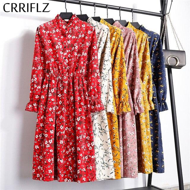 High Elastic Waist Corduroy Vintage Dress A-line Women Full Sleeve Flower Plaid Print Dresses Slim Feminino CRRIFLZ 4
