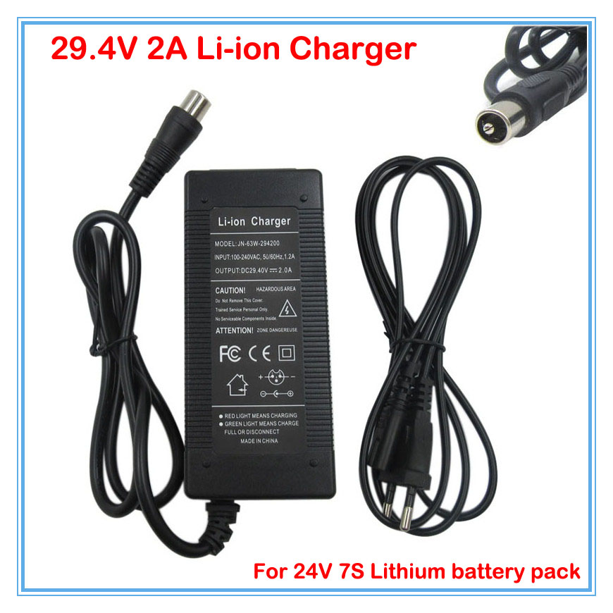 Hot sale <font><b>29.4V</b></font> <font><b>2A</b></font> Li ion Battery charger 24V <font><b>2A</b></font> for 24V 7S 10AH 20AH Lithium Li-ion ebike bicycle electric bike battery charger image