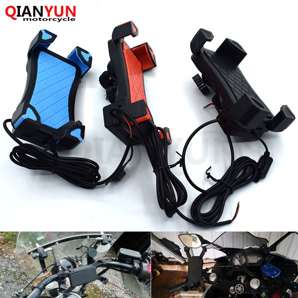 Universal Motorcycle Phone Holder Mobile Stand For Moto Support USB Charger Holder For <font><b>BMW</b></font> K1600 K 1200 1300 S/R/GT <font><b>R1200R</b></font>/S/GS image
