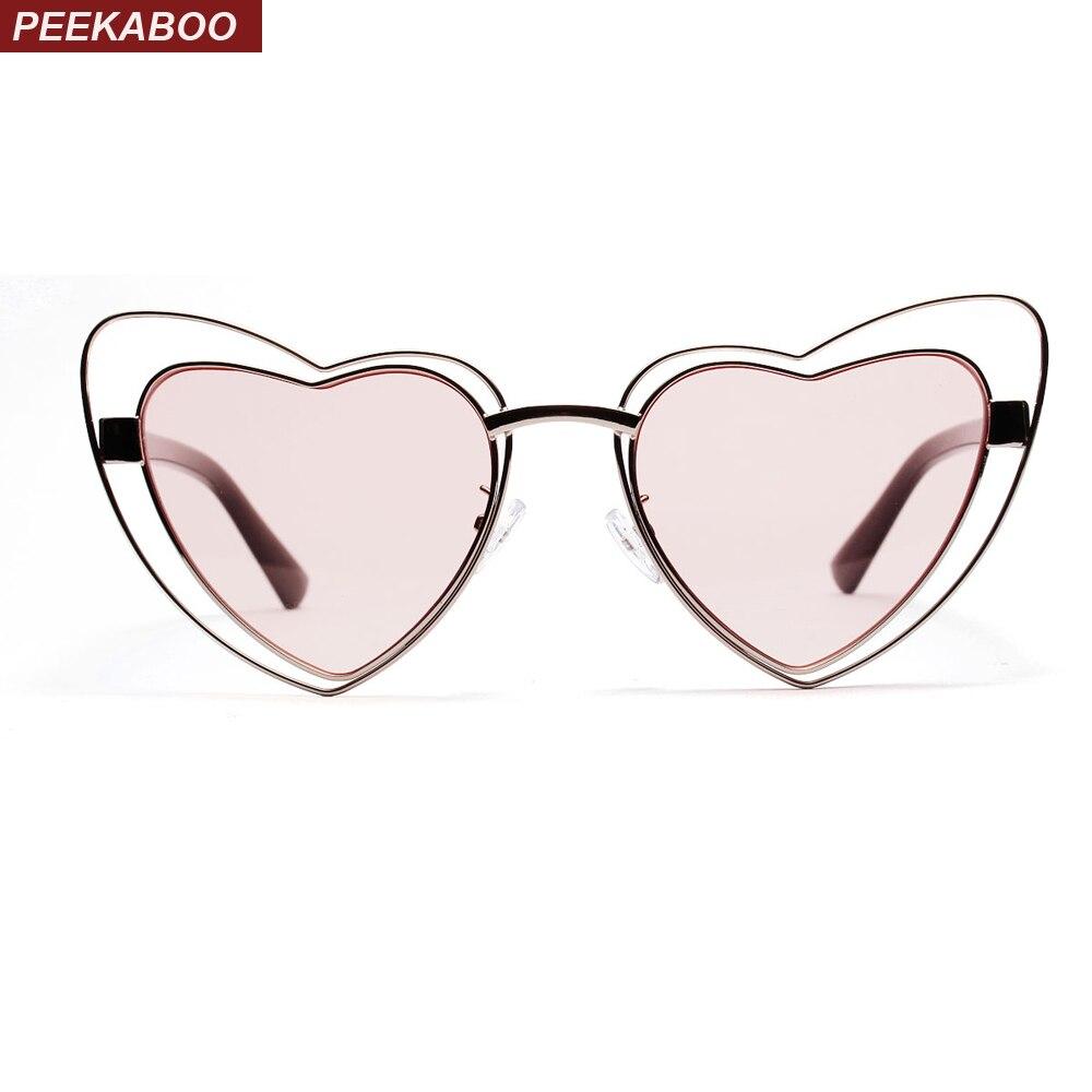 Peekaboo pink heart shaped sunglasses women vintage metal frame heart sun glasses for women 2018 female gift party