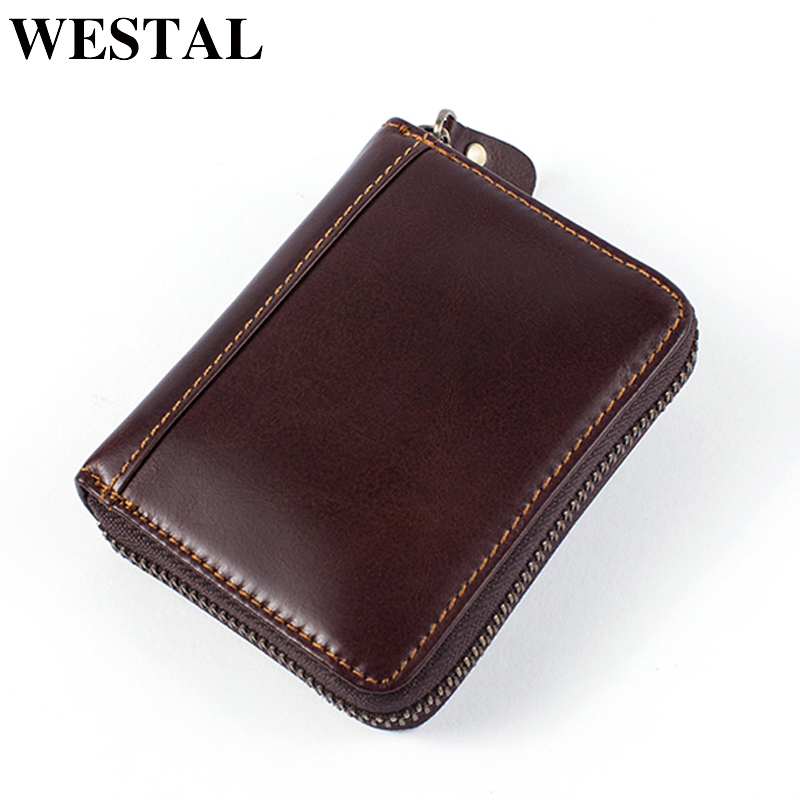 WESTAL Genuine Leather Men Wallets with coin pocket Card Holder Mini Coin Purse Men Small Wallet Zip Clutch Male Wallets westal 100% genuine leather men wallet credit card holder coin purse mens leather wallets with coin purse men wallets 8063