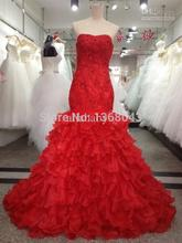 2013 Popular Style Sweetheart Off the Shoulder Zipper Ball Gown Red Wedding Dress Organza