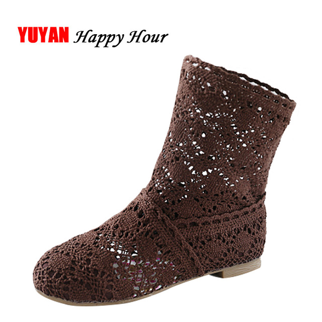 High Quality Breathable Mesh Summer Boots Women Flat Heel Ankle Boots 2019 Summer Womens Boots Fashion Cut-Outs Brand ZH262