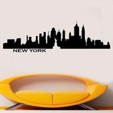 New York City Skyline Statue Of Liberty Vinyl Wall Sticker Decal Bedroom Decor Bedhead Decoration Waterproof DIY CT01