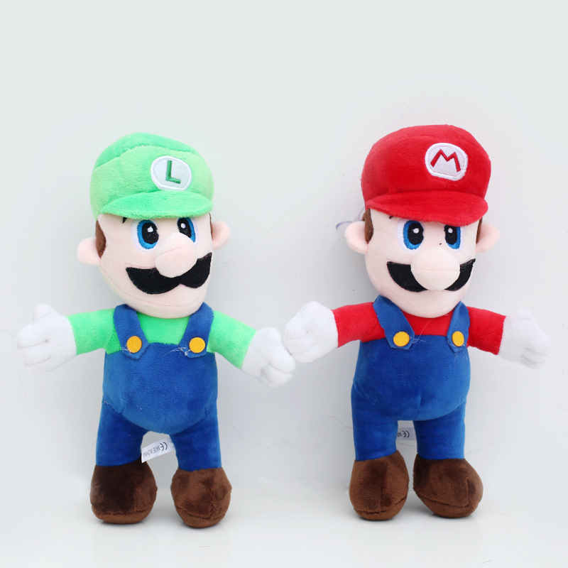 2pcs/lot 25cm Super Mario Bros Stand Mario & Luigi Plush Toys Doll Soft Stuffed Toys for Children Kids Gifts