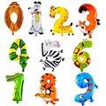 1 unids 16 Pulgadas Número de Animales Globos de Boda Globo de la Fiesta de Cumpleaños Decoraciones Del Partido Kids Regalo de Los Niños