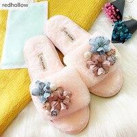 fur slippers women anti slip oxford fur flip flops flower decoration fur slides women winter home sandals