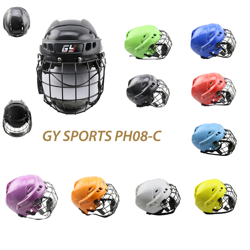 New design Free shipping High-density PP shell Ice Hockey Player Helmet Field Hockey Helmet with A3 steel cage yellow ice hockey face mask ce certificate hockey helmet for player free shipping