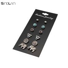 New Fashion 6 Pair / Set Bohemian Stone Triangular Geometric Retro Flower Crystal Rhinestones Elephant Earrings For Women