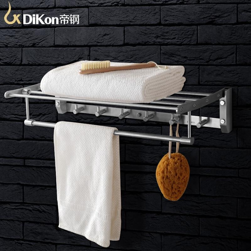 DiKon GJ07 Solid Bathroom Towel Rack Holder 304 Stainless Steel 60cm Bathroom Accessories Folding Towels Bar Double Layer стоимость