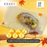 CLUCI Jewelry Gifts Shell Wish Pearl Oyster Vacuum packed 6 7mm Gold color Natural Real Pearls in Oyster Pearl 10pcs/pack