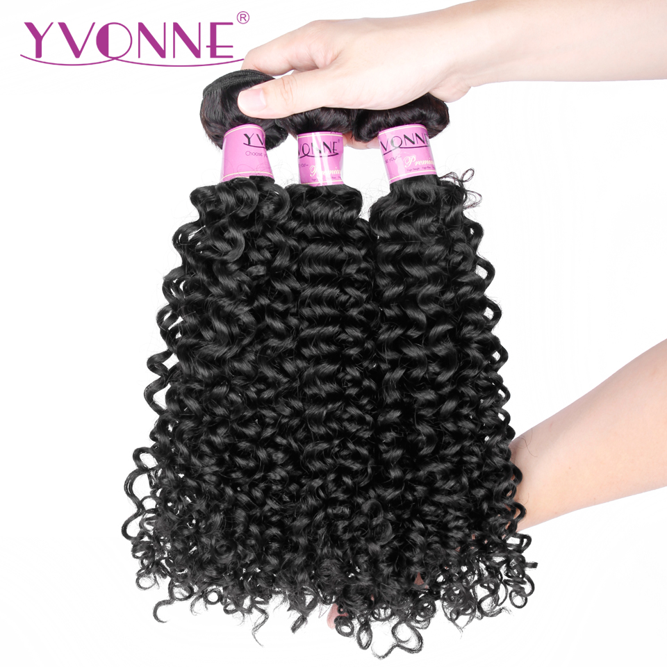 YVONNE Virgin Malaysian Curly Hair 3 Bundles Human Hair Weave Natural Color Free Shipping