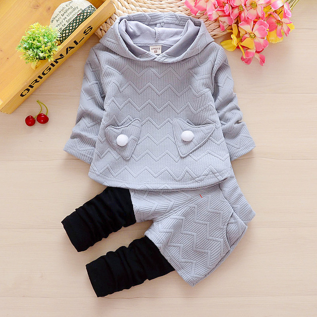 bba0b7adf79a Newborn baby girls spring autumn clothing sets toddler hoodies+pants ...