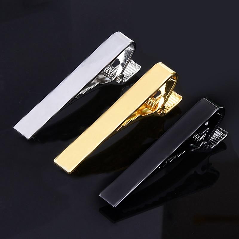 1 Piece Men's Short Tie Clip Silver Fashion 3 Color Simple Gold Male Collar 4.3cm