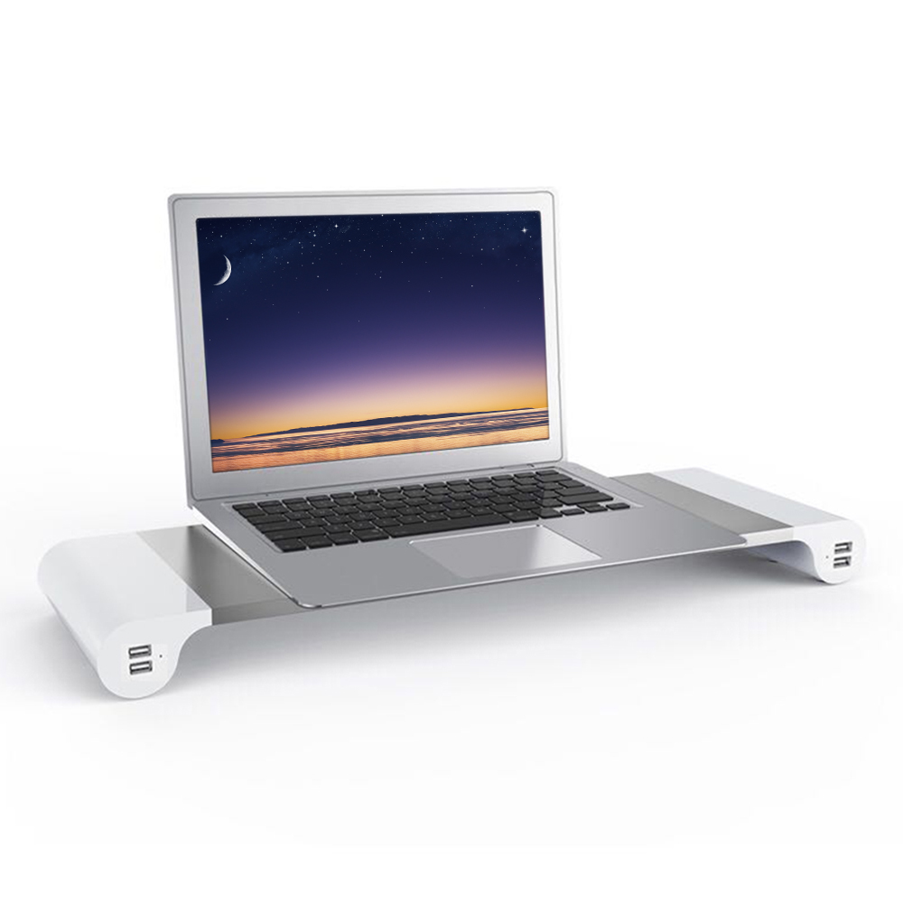 Aluminum Space Bar Laptop Computer Monitor Stand Holder Desk Organizer 4 USB Charging Po ...