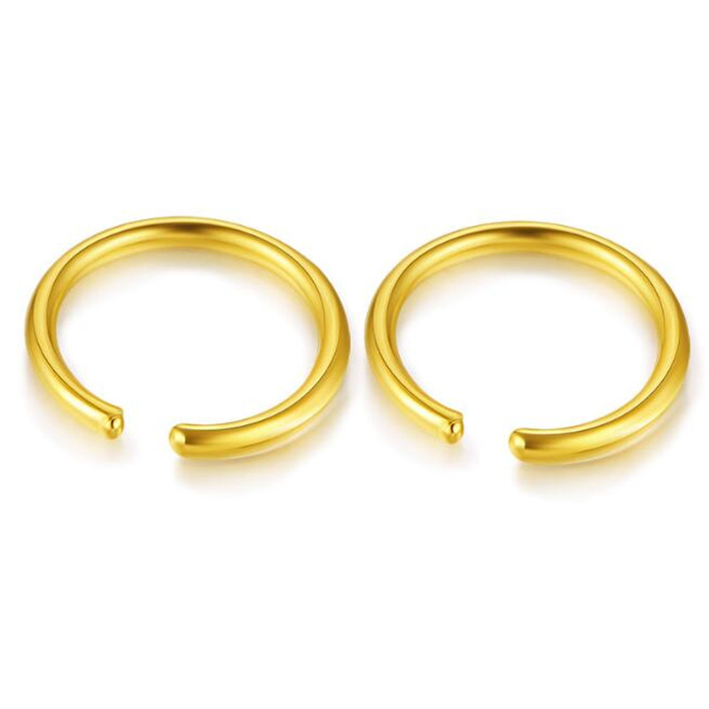 100% 18K Pure Gold 5.50mm 6.50mm 7.50mm 9mm Circle Hoop Earring For Women Simple Punk Style Brincos Round Earrings Party Jewelry цена