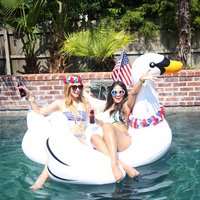 60 Inch 1.5m Giant White Swan Ride on Swimming Ring Inflatable Flamingo Float Pool Beach Party Toy Air Mattress Lounger Bed boia