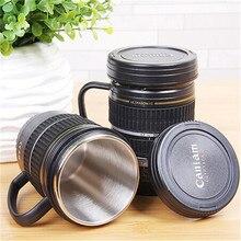 220 ML Kamera Shaped edelstahl Objektiv Tasse Mit Griff Slr wasser Caniam Logo Kaffeetasse Tasse Geschenk für Fotografie freund