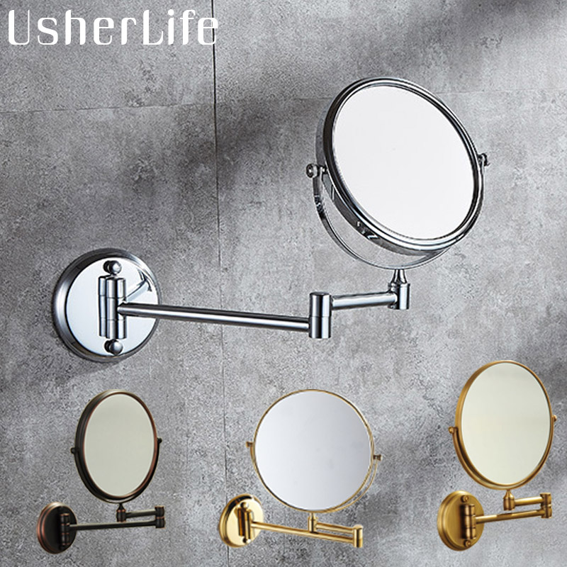 Usherlife 8 Dual Makeup Mirrors 11 And 13 Magnifier Copper Cosmetic Bathroom Double Faced Bath Mirror Wall Mounted