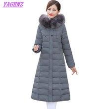 Winter Middle-aged Women Long warm Down cotton Jacket Fashion Detachable cap Cotton outerwear Fur collar Plus size Overcoat B185