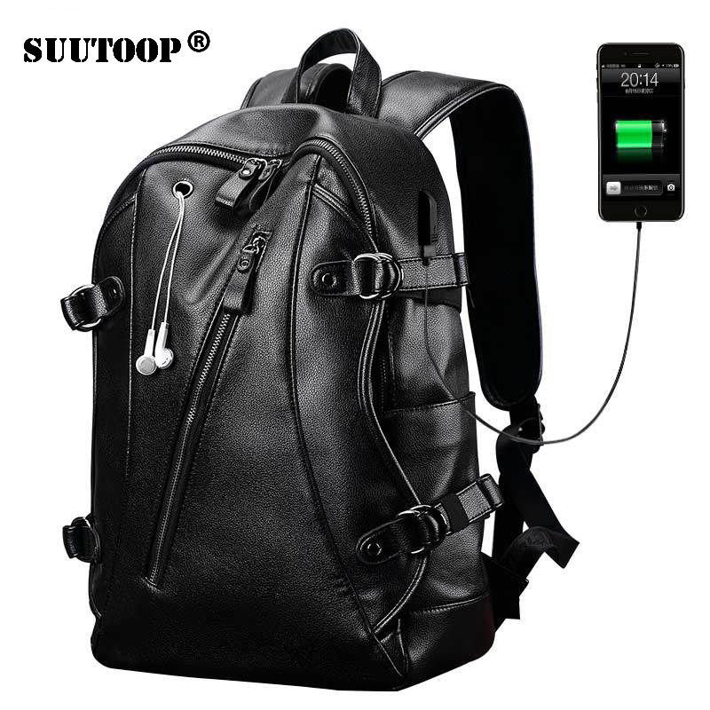 "Suutoop Men External Usb Charge Backpack For Travel Women 15.6"" Laptop Backpack Pu Leather Waterproof Backpack Male Business Bag"