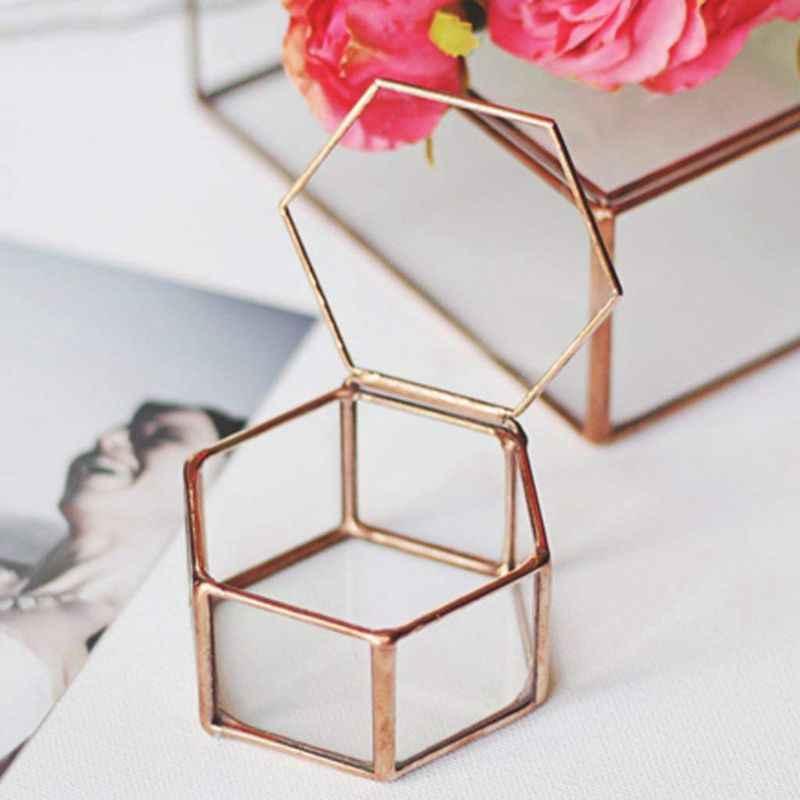 Geométrico Terrário de Vidro Transparente Caixa de Jóias Caixa de Vidro Planta Suculenta Pote Deco Forma de Hexágono