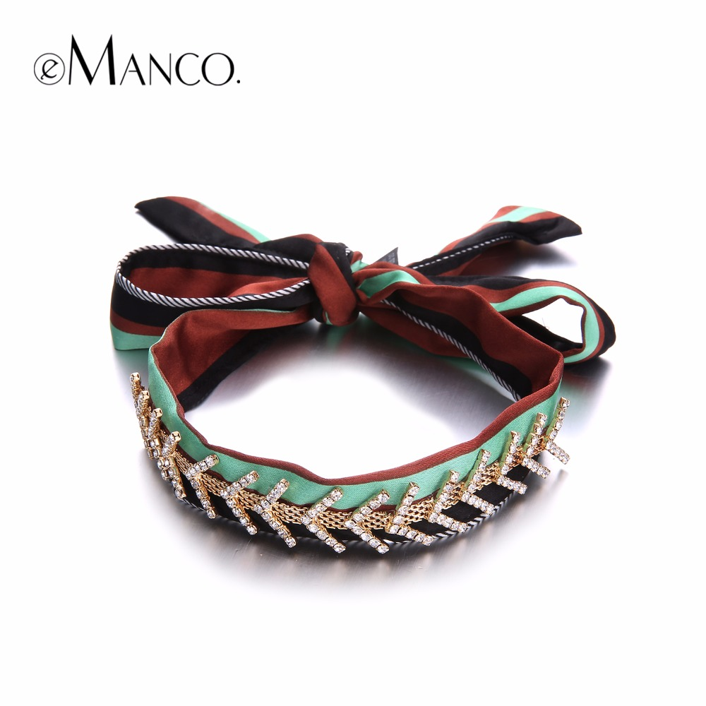 eManco Bohemia Chokers Necklaces for women Green & Black Cloth with Rhinestones Trendy Vintage Necklace Jewelry