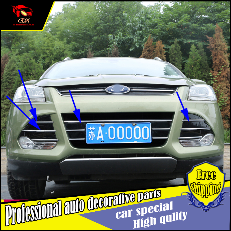 Car-styling For Ford Kuga 2013-2015 ABS Chrome Car Front Gille Trim covers Grille fog light Decoration Cover Trims Accessories 15x15cm round svt cobra shelby gt500 super snake chrome abs car styling refitting emblem badge grille trunk 3d sticker for ford