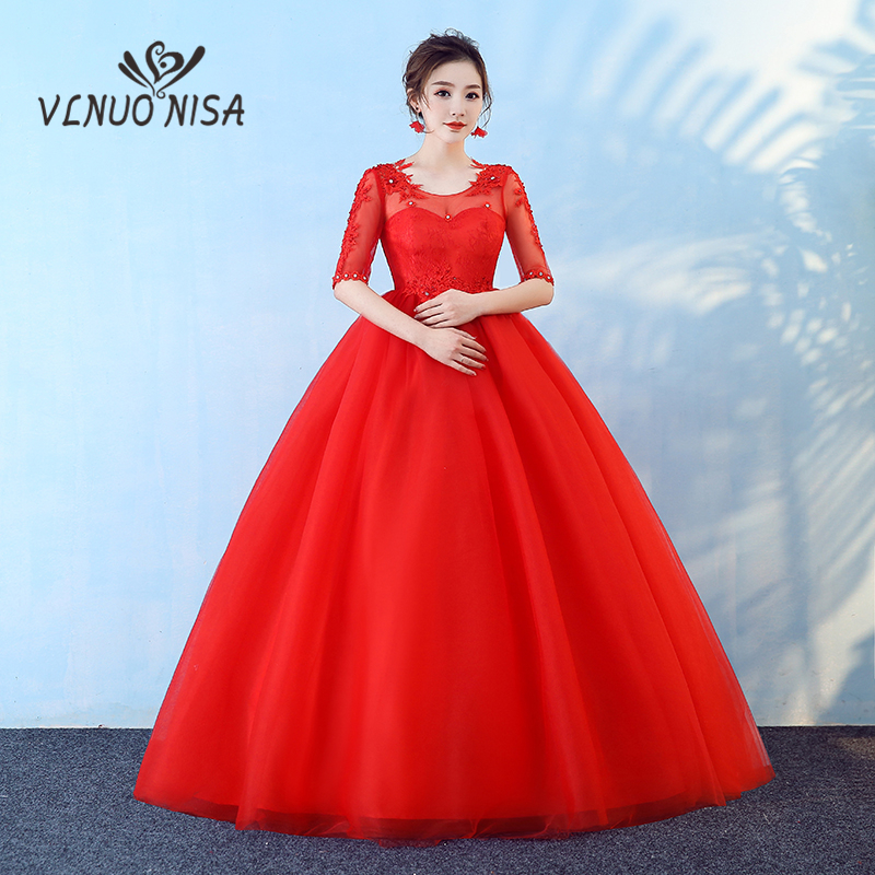 Elegant Comfortable Red Lace Maternity Wedding Dress Half Sleeve Lace Up Long Ball Gown Cheap Plus Size For Pregnant Bride