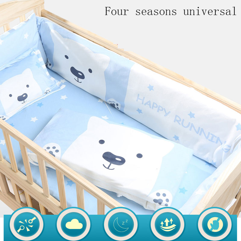 100% Cotton 5Pcs Baby Crib Bedding Bumpers Cartoon Baby Bedding Bed Around Package Bed Sheets Thickening Beautiful Crib Bumper 6pcs animal print 100%cotton baby bedding bumpers stars bed around cartoon removable boys and girls unisex baby bed crib bumper