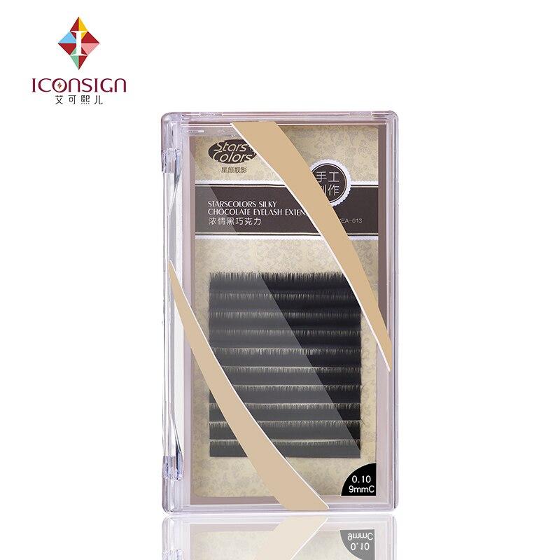 6 boxes/lot Natrual silk J/C Curl 8-13mm Fake False Eyelash Single 0.10/0.15mm Thickness Makeup Eyelash Extention