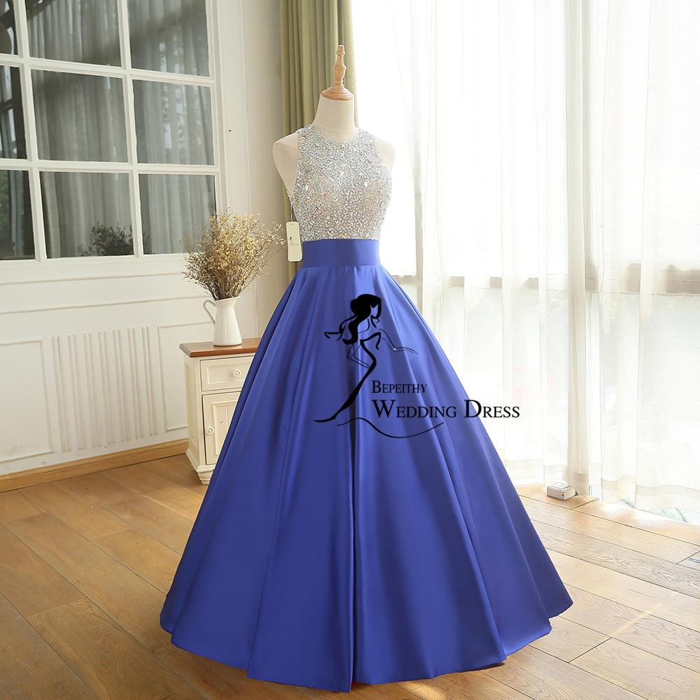 Stvarna slika Linija duga večernja haljina Beadings Kristalna - Haljina za posebne prigode - Foto 6