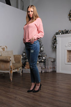 цены на Ship from Russia Ripped patch Jeans Woman Denim Pants Trousers For Women Pencil Jeans withe spandex  в интернет-магазинах