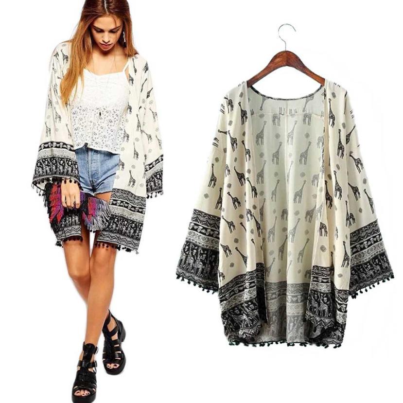 112c0bea531 Spring Feminine Loose Long Blouse Women Chiffon Coat Kimono Cardigan Tassel  Jacket Camisa Feminina Tops Beach Cover Up Plus Size-in Blouses   Shirts  from ...