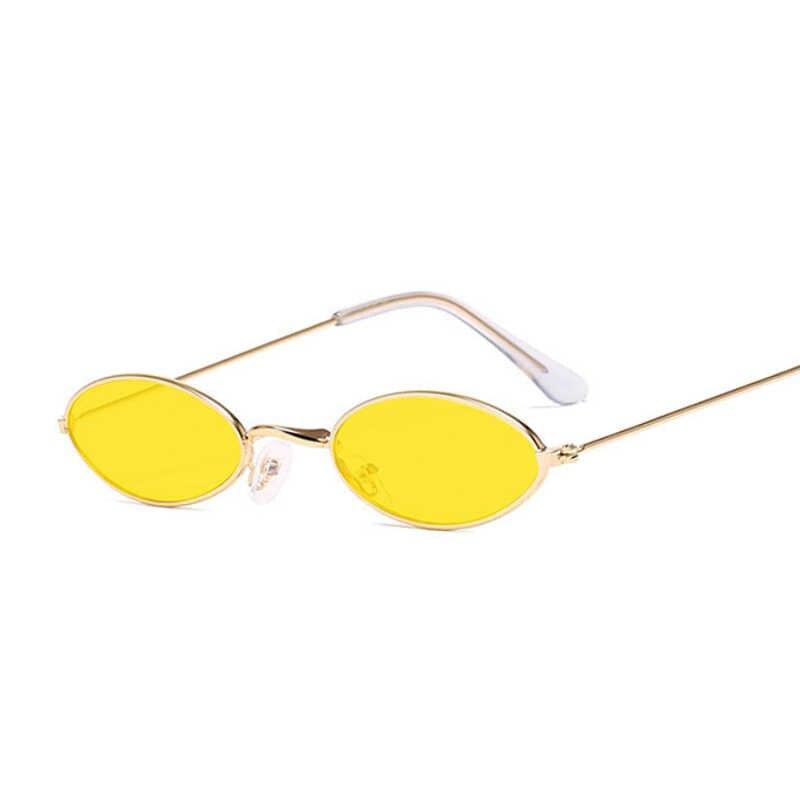 Retro Oval Kecil Kacamata Wanita Vintage Merek Warna Hitam Merah Logam Warna Berjemur Kacamata untuk Perempuan Fashion Designer Lunette