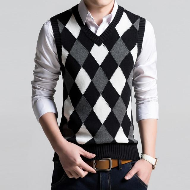 1f2c045b3adf1 Para hombre primavera suéter sin mangas con cuello en v de algodón hilado chaleco  chaleco de