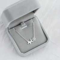 Alta qualidade 925 Sterling Silver Animal fulvo Floco De Neve Colar de jóias pingente de colar curto feminino estilo Coreano animal simples