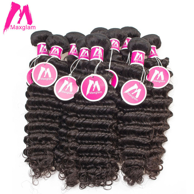 Maxglam Wholesale 10pcslot Deep Wave Brazilian Hair Weave Bundles