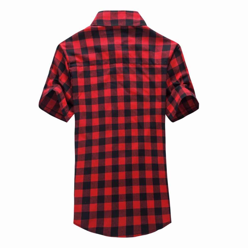 Merah dan Hitam Plaid Kemeja Pria Kemeja 2020 Baru Musim Panas Mode Chemise Homme Pria Kotak-kotak Lengan Pendek Kemeja Pria blus