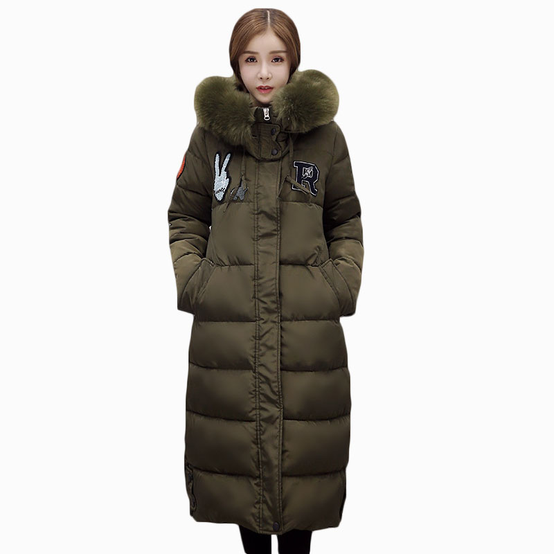 2017 NEW HOT SALE FASHION WOMEN WINTER JACKER MID-LENGTH LARGE FUR COLLAR HOOD THICKEN WARM FEMALE PARKAS COTTON WADDED ZL677