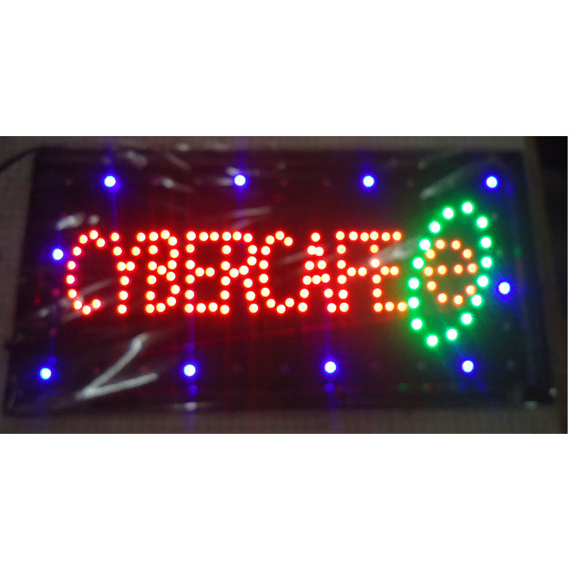 2017 direct selling customed low power 10X19 inch semi-outdoor Ultra Bright running cibercafes led Neon open lighted Sign