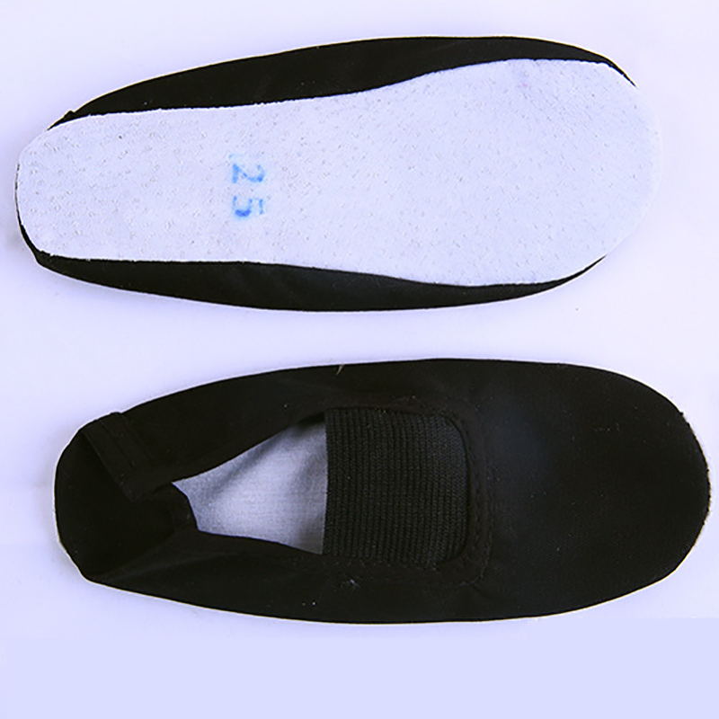 USHINE EU22-45 Whole Leather Sole Black White Flat Yoga Teacher Fitness Gymnastic Ballet Dance shoes For Children Woman Man(China)