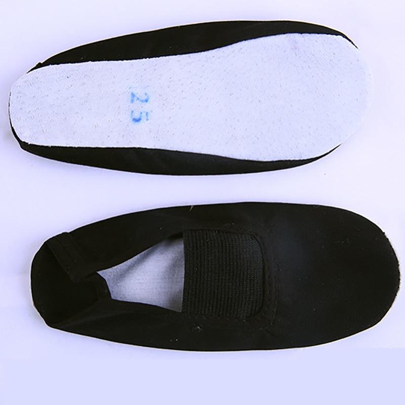 USHINE EU22-45 Whole Leather Sole Black White Flat Yoga Teacher Fitness Gymnastic Ballet Dance Shoes For Children Woman Man