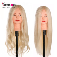40 % Human Hair thick can be curled Training Head blonde For Salon Hairdressing Mannequin Dolls high temperature Head With Human