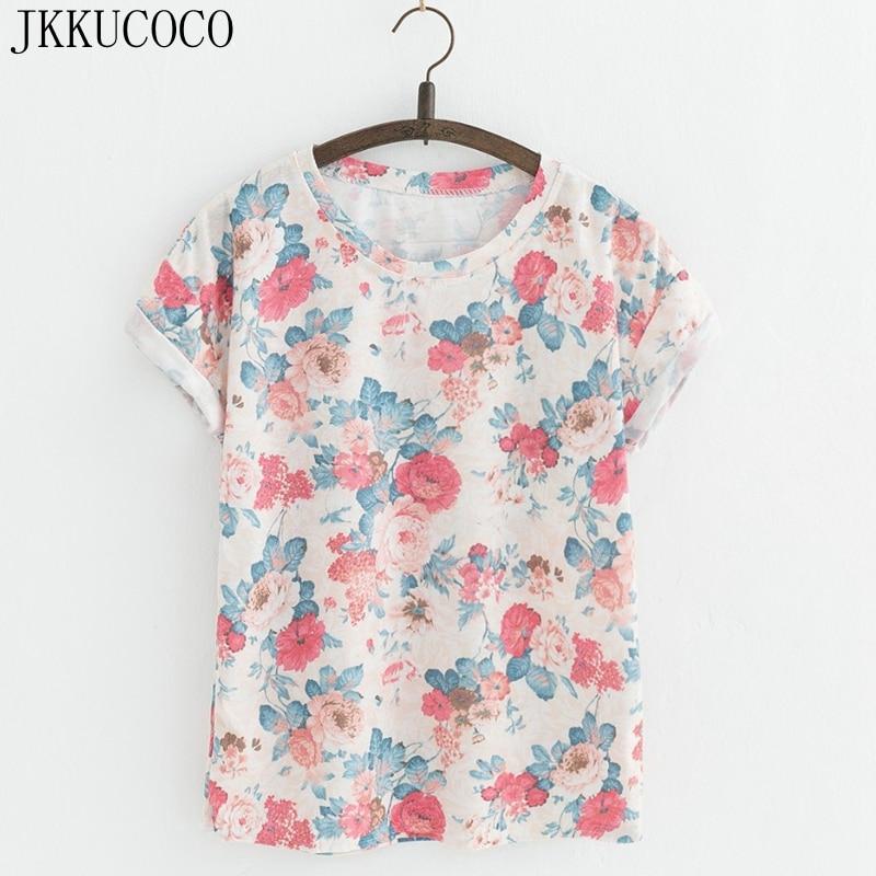 JKKUCOCO New Style Flowers printing t shirts Cotton t shirt Women Tops Short Sleeve T shirt