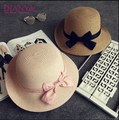 1Pcs Summer New Women's Sun Hat Black Bowknot Ribbon Flanging Straw Hat Beach Caps Head Circumference 56-58 Cm 4 Colors