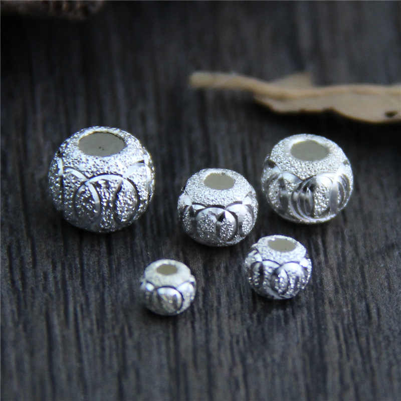 2 pcs 4mm 5mm 6mm 7mm 8mm 100% 925 Sterling Silver Matte